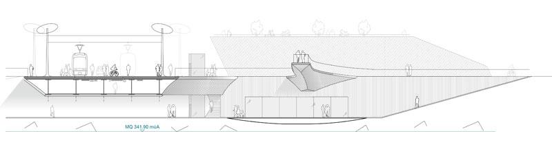 Architektur-Marion-Wicher_yes-architecture_Graz_WB-Neubau-Tegetthoffbrücke_03_Schnitt-Ansicht_800x220